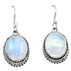 925 sterling silver 8.02cts natural rainbow moonstone dangle earrings r21875