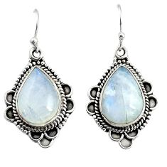 925 sterling silver 12.07cts natural rainbow moonstone dangle earrings r25037