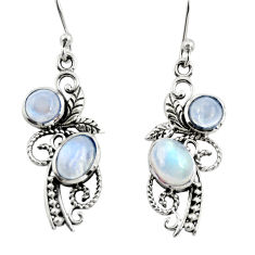 925 sterling silver 4.47cts natural rainbow moonstone dangle earrings r26100