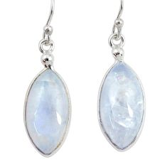 925 sterling silver 11.93cts natural rainbow moonstone dangle earrings r29234
