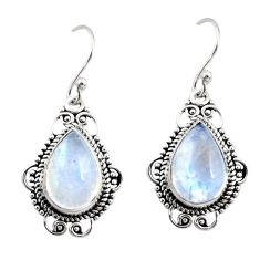 925 sterling silver 8.79cts natural rainbow moonstone dangle earrings r30944