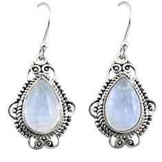 925 sterling silver 8.73cts natural rainbow moonstone dangle earrings r30960