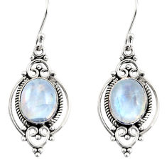 925 sterling silver 9.18cts natural rainbow moonstone dangle earrings r30964