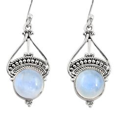 925 sterling silver 6.82cts natural rainbow moonstone dangle earrings r31017