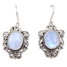 925 sterling silver 7.97cts natural rainbow moonstone dangle earrings r31054