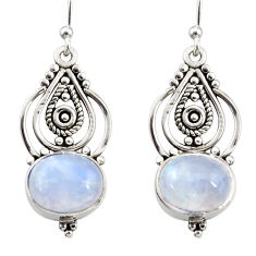 925 sterling silver 8.09cts natural rainbow moonstone dangle earrings r31091