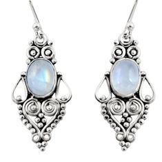 925 sterling silver 4.21cts natural rainbow moonstone dangle earrings r31195