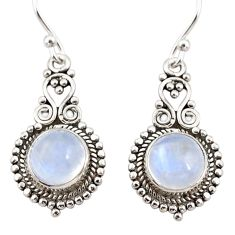 925 sterling silver 6.61cts natural rainbow moonstone dangle earrings r31267