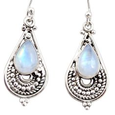 925 sterling silver 4.40cts natural rainbow moonstone dangle earrings r31291