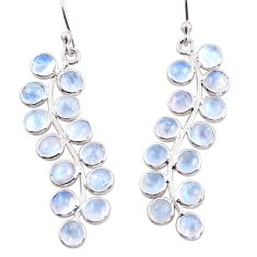 925 sterling silver 10.67cts natural rainbow moonstone dangle earrings r33477