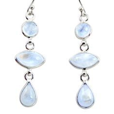 925 sterling silver 13.13cts natural rainbow moonstone dangle earrings r35120