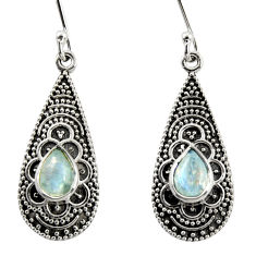 925 sterling silver 2.97cts natural rainbow moonstone dangle earrings r35140