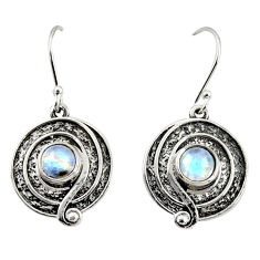 925 sterling silver 2.47cts natural rainbow moonstone dangle earrings r35158