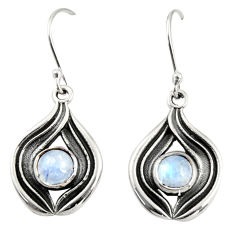 925 sterling silver 2.62cts natural rainbow moonstone dangle earrings r35173
