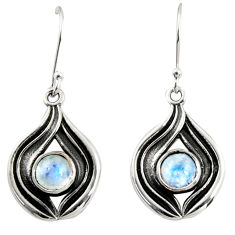 925 sterling silver 2.64cts natural rainbow moonstone dangle earrings r35177
