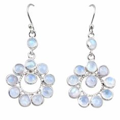 925 sterling silver 10.58cts natural rainbow moonstone dangle earrings r35539