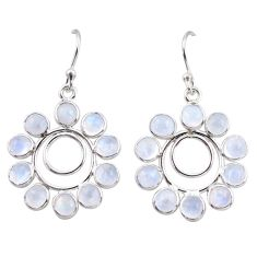 925 sterling silver 9.57cts natural rainbow moonstone dangle earrings r35576