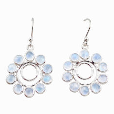 925 sterling silver 9.22cts natural rainbow moonstone dangle earrings r35580