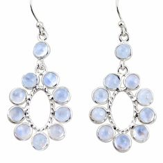 925 sterling silver 10.67cts natural rainbow moonstone dangle earrings r35597