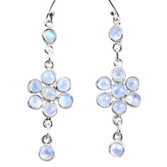 925 sterling silver 9.55cts natural rainbow moonstone dangle earrings r35653