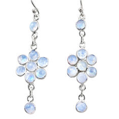 925 sterling silver 9.72cts natural rainbow moonstone dangle earrings r35657