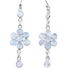 925 sterling silver 9.72cts natural rainbow moonstone dangle earrings r35660