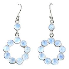 925 sterling silver 8.58cts natural rainbow moonstone dangle earrings r35699