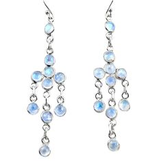 925 sterling silver 12.58cts natural rainbow moonstone dangle earrings r35720