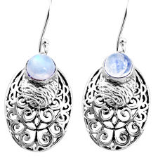 925 sterling silver 2.37cts natural rainbow moonstone dangle earrings r36599