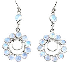 925 sterling silver 12.71cts natural rainbow moonstone dangle earrings r37497