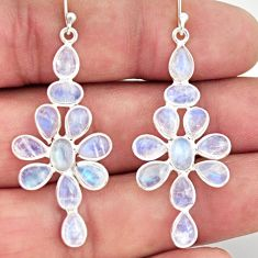 925 sterling silver 12.30cts natural rainbow moonstone dangle earrings r37516