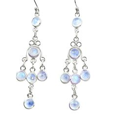 925 sterling silver 9.05cts natural rainbow moonstone dangle earrings r37540