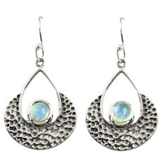 925 sterling silver 2.10cts natural rainbow moonstone dangle earrings r39100