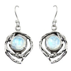 925 sterling silver 5.97cts natural rainbow moonstone dangle earrings r39180