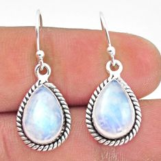 925 sterling silver 8.44cts natural rainbow moonstone dangle earrings r41167