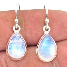 925 sterling silver 7.95cts natural rainbow moonstone dangle earrings r41172