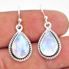 925 sterling silver 8.53cts natural rainbow moonstone dangle earrings r41176