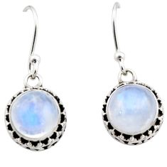 925 sterling silver 5.13cts natural rainbow moonstone dangle earrings r53024