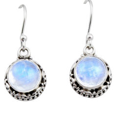 925 sterling silver 5.87cts natural rainbow moonstone dangle earrings r53031