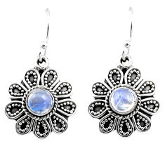 925 sterling silver 1.40cts natural rainbow moonstone dangle earrings r54020