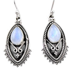 925 sterling silver 4.72cts natural rainbow moonstone dangle earrings r54175