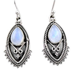925 sterling silver 4.54cts natural rainbow moonstone dangle earrings r54179
