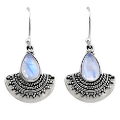 925 sterling silver 4.69cts natural rainbow moonstone dangle earrings r54191