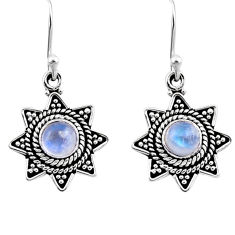 925 sterling silver 1.00cts natural rainbow moonstone dangle earrings r54220