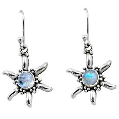 925 sterling silver 0.98cts natural rainbow moonstone dangle earrings r54232
