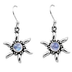 925 sterling silver 0.98cts natural rainbow moonstone dangle earrings r54236