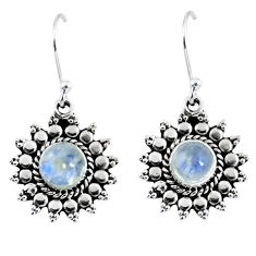 925 sterling silver 2.72cts natural rainbow moonstone dangle earrings r55170