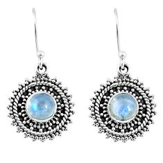 925 sterling silver 2.81cts natural rainbow moonstone dangle earrings r55199