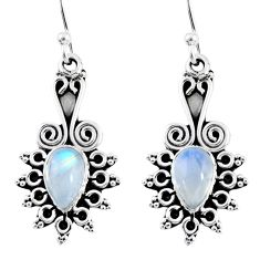 925 sterling silver 4.02cts natural rainbow moonstone dangle earrings r55216