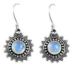 925 sterling silver 2.32cts natural rainbow moonstone dangle earrings r55239